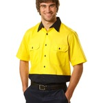 High Vis Cotton Drill Safety Shirt